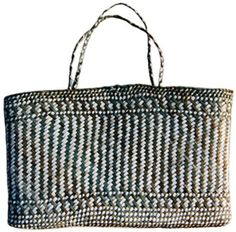 "Kete Whakairo (Maori Fancy Basket) 12"" x 7""+handle   Woven of natural and dyed New Zealand flax (not the same type woven into linen) by a Maori woman from the town of Rotorua on the North Island - The Maori often dye their material in the thermal mud (paru) pots"