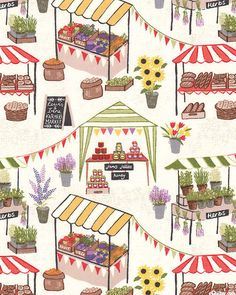 Farmers Market - Fresh Food Stands -Quilt Fabrics from www.eQuilter.com