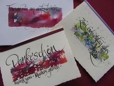 Kartenset,Kalligraphie,3Karten mit Umschlag