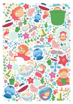 Studio Ghibli Ponyo -MANY SIZES -Japanese Fish Modern Childrens Kids Decor Illustration Hayao Miyazaki Nursery Cute Kawaii Anime Print Studio Ghibli Art, Studio Ghibli Movies, Studio Art, Hayao Miyazaki, Kawai Japan, Le Vent Se Leve, Wind Rises, My Neighbor Totoro, Illustrations