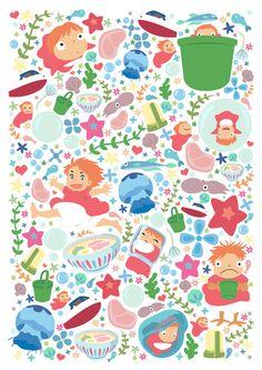 Ponyo Pattern - Studio Ghibli Art Print