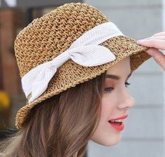 Bow straw sun hats for women uv protection effect bucket hats