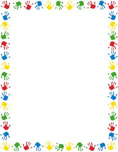 A page border featuring handprints in different colors. Free downloads at http://pageborders.org/download/handprint-border/