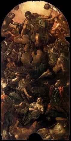 A aparição de São Roque (c. 1588) Jacopo Tintoretto - Scuola Grande di San Rocco, Veneza  Este grande retábulo sobre a parede do altar da Sala Superiore foi executado com a ajuda de assistentes. Em particular, a mão do filho de Tintoretto, Domenico Robusti, pode ser reconhecida na parte superior da pintura, onde São Roque paira entre as nuvens sobre seus adoradores.  Na sequência da Peste Negra, especialmente a epidemia da peste italiana de 1477-1479, novas imagens de mártires e santos…