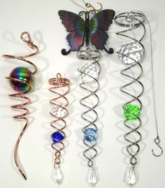 SPIRAL TAIL Clear Cut Crystal for Wind Spinners Silver Toned 10 inch
