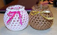 Beaded Glass Jar cover - free crochet pattern