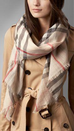 Sciarpa in garza di lana e seta check | Burberry