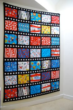 Film strip quilt - this would be cute with Disney fabric