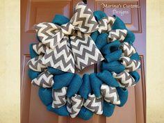 21 Chevron Burlap Wreath by marinascustomdesigns on Etsy, $52.00