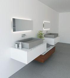 Ambientación de baño con lavamanos y muebles de las líneas MOBILI y LAVABI by STONNIA.   Bathroom minimalistic furnishing and basalt stone sinks by STONNIA.