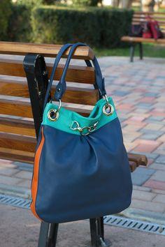 BlueGreen BUCKET Leather  Bag, TOTE Leather Bag, Leather Shoulder Bag,Soft Pebbled Leather Purse, Leather Bucket Purse