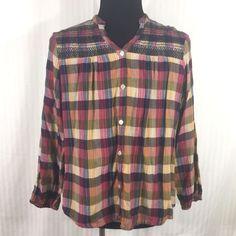131db2ef25e64 Dressbarn Shirt Top Blouse Size 2XL Gypsy Bohemian Peasant Ruched Button Up   Dressbarn  ButtonDownShirt