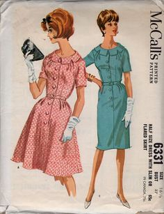 2a30e46e McCall's 6331 Free Us Ship Sewing Pattern Vintage Retro 1960s 60s Uncut  Darted Shirtdress Dress Fitted Size 16 Bust 37 Half Size