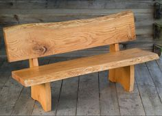 Wood slab bench with back