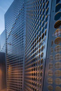 Laser cut aluminum grid panel; exterior decoration; PVD coating./ Guangdai Metal