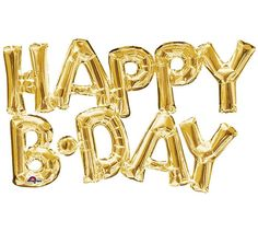 Say Happy Birthday in a special way with these fun Happy B-day gold balloons. An easy decoration to take to a party place...the bounce house, pizza arcade or office break room. Just tape to the wall a