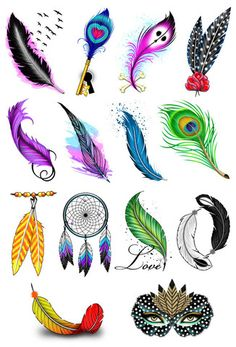 Feather Temporary Tattoos For The Ladies Beautifully illustrated feather tattoo designs. 14 different style feathers to go with any occasion or outfit! Series of 14 Tattoo designs includes: Flying Bir