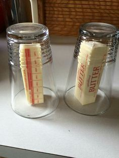 Pinner wrote: One of the coolest baking tips ever... Tried and true... If you need to soften butter quickly but don't want to melt it.... Put boiling hot water in a glass to heat the glass. Dump the water out and flip it over your stick of butter. In a few minutes it will be soft to use!