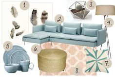 Mood board with Ikea SÖDERHAMN sofa and calming summer colors (feather artwork) #moodboard #livingroomdesign