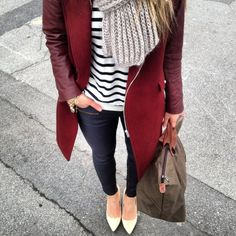 Marsala and stripes. I love the style of this entire outfit. I would pair with my cognac Madewell transport tote.