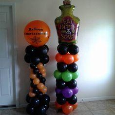 Halloween Balloon Columns Halloween Spider, Halloween 2019, Halloween Party Decor, Balloon Decorations Without Helium, Balloon Ideas, Dj Party, Pony Party, Balloon Columns, Balloon Arch