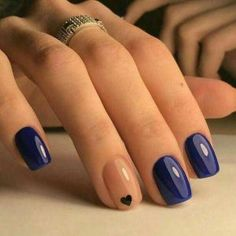 Beautiful summer nail art designs to try this summer 2017 Beautiful Navy Blue nails with tiny Heart shape. pink nail polish on rounded shaped nail.Beautiful Navy Blue nails with tiny Heart shape. pink nail polish on rounded shaped nail. Love Nails, How To Do Nails, Pretty Nails, Fancy Nails, Classy Nails, Cute Easy Nails, Chic Nails, Gel Nail Designs, Cute Nail Designs