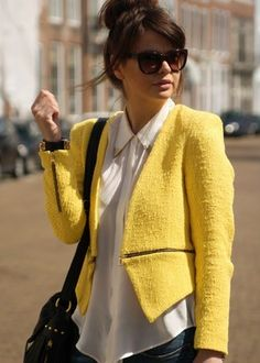 Zara Yellow Blazer Jacket with Zip Zips Waist Celebrity