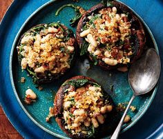 Portobello Mushrooms With White Beans and Prosciutto. The Skinny: 234 calories per serving, 8 g fat (2 g saturated), 31 g carbs, 9 g fiber, 12 g protein. See the recipe >>