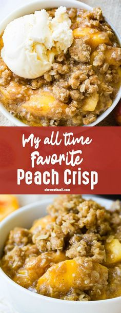 This peach crisp is one of my favorites! The fruit gets all warm and releases all of it's sugars and then that topping it's like a crazy delicious oatmeal cookie on top! Oreo Dessert, Fresh Peach Crisp, Peach Crisp Recipe With Canned Peaches, Apple Crisp, Peach Crisp Recipes, Dessert With Peaches, Peach Oatmeal Crisp, Peach Cobbler Crisp, Peach Baked Oatmeal