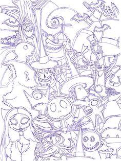 Nightmare Before Christmas Characters Coloring SheetsAdult