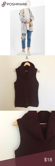 Max Studio Sleeveless Sweater Wine colored sleeveless cowl neck Knit Sweater. So soft! Great condition, some pilling here and there. First pic is of a similar style for an outfit idea. Max Studio Sweaters Cowl & Turtlenecks