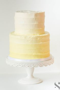 Yellow ombre rustic buttercream cake