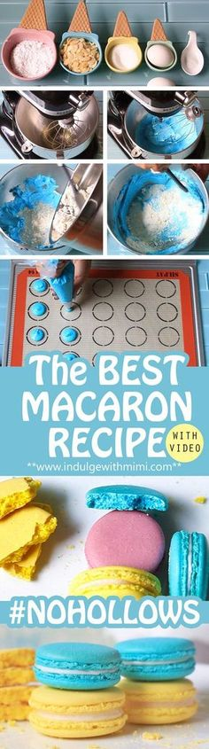 Best Macaron Recipe with video tutorial. Master the critical techniques required at each stage of the macaron baking process.The Best Macaron Recipe with video tutorial. Master the critical techniques required at each stage of the macaron baking process. Best Macaron Recipe, French Macarons Recipe, Macaroon Recipes, French Macaroons, Macaroon Cookies, Cake Cookies, Cupcakes, Just Desserts, Delicious Desserts