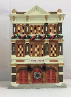 NOMA Dickensville Collelctables Porcelain House Maison Christmas Fire House Box #NOMA