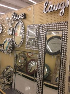Rhinestone Wall Mirror diy - bling out your mirror! buy any cheap framed mirror & any