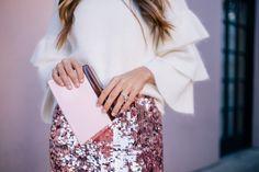 Gal Meets Glam Pink Sequin Skirt -Endless Rose sweater, Tory Burch skirt & Rocio clutch