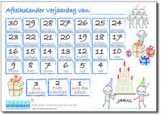 Gratis aftelkalender Verjaardag voor kinderen. Laat kinderen zelf de dagen aftellen totdat ze jarig zijn. | Klik op de afbeelding om naar de download te gaan. http://www.opvoedproducten.nl/product/aftelkalender-verjaardag/235