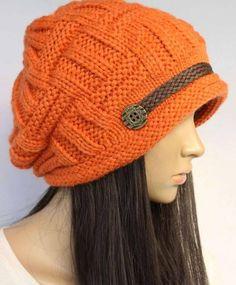 Orange Slouchy Knitted Hat Cap Beanie on Luulla Winter Hats For Women, Cool Hats, Knitting Accessories, Loom Knitting, Beanie Hats, Slouchy Beanie, Beanies, Crochet Yarn, Bunt