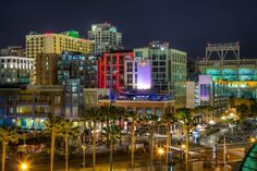 Fun photo of downtown San Diego at night. Such a beautiful climate. Larger population but feels quite small. If you have children under 10, great place to go for the tide pools (check months and times), whale watching, amazing zoo and miles of clean beaches. Oscar's for fish tacos is a must at Mission Beach - true food, tucked in, take out or street side dining.