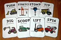 Theme - Weekly Home Preschool Gross motor construction movement cardsGross motor construction movement cards Construction Theme Preschool, Transportation Theme Preschool, Construction Crafts, Construction Area, Construction Business, Construction Worker, Preschool At Home, Preschool Themes, Preschool Lessons