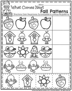 Fall Preschool Worksheets for November - What comes next fall patterns. Fall Preschool Activities, Thanksgiving Preschool, Preschool Curriculum, Preschool Printables, Preschool Lessons, Preschool Classroom, Preschool Worksheets, Preschool Learning, In Kindergarten