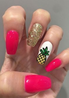 Fabulous nails, why not consider these beaut, smart pattern info number 4002850179 now. Fabulous nails, why not consider these beaut, smart pattern info number 4002850179 now. Short Nail Designs, Colorful Nail Designs, Nail Art Designs, Colorful Nails, Pineapple Nail Design, Pineapple Nails, Cute Summer Nails, Cute Nails, My Nails