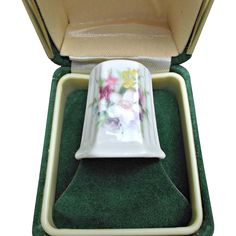 Donegal Vintage Thimble Parian China Flowers Sewing from saltymaggie on Ruby Lane