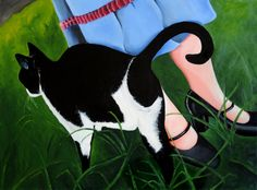Cat with Girl Giclee Art Print 5x7 Signed by M Dempsey Colorful Skirt Mary Janes 1930s 1940s
