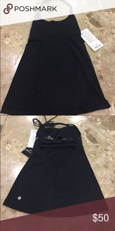 Lululemon New with Tags Black backless top Perfect condition, awesome top! I'm so bummed I am re-posting because it's too small for me. Runs small on top. My loss is your gain! lululemon athletica Tops Tank Tops
