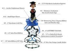 Graduation Centerpiece #006. For more details, including color options and pricing, please visit our website www.lacrafts.com  (Centro de mesa para Graduacion #006 Para más detalles, incluyendo opciones de color y los precios, por favor visite nuestro sitio web www.lacrafts.com)
