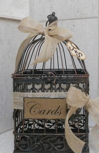 Birdcage Wedding Card Holder / Rustic Burlap Wedding Card Box. $45.00, via Etsy.
