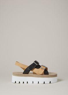 MM6 Maison Margiela Thick Sole Sandal (Tan/Black)