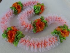 Peach Lace with Ilima ribbon lei by AlohaRibbonCrafts on Etsy