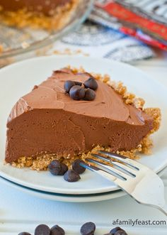 Calling all chocoholics! This rich and creamy no-bake chocolate cheesecake pie recipe is for you. Just melt chocolate chips into softened cream cheese, butter, sugar, and whipped topping—you'll be asking for seconds in no time.